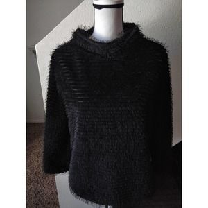 Vince Black Fringe Ribbed Mock Neck Top Sweater M